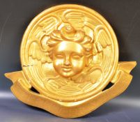 19TH CENTURY FRENCH CARVED GILT CHERUB HANGING PLAQUE