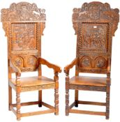 PAIR OF VICTORIAN CARVED OAK WAINSCOT CHAIRS