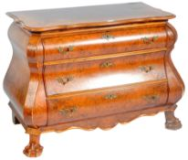 20TH CENTURY STYLE WALNUT COMMODE CHEST OF BOMBE FORM