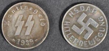 TWO WWII SECOND WORLD WAR WAFFEN SS CANTEEN MONEY TOKENS