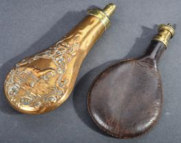 TWO 19TH CENTURY BRASS AND LEATHER POWDER FLASKS