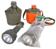 COLLECTION OF VINTAGE MILITARY DRINKING CANTEEN AND TORCHES