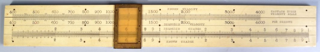 19TH CENTURY CAPTAIN HILL'S VELOCITY SCALE FOR A CANNON