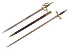 TWO 20TH CENTURY MASONIC SWORDS