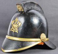 19TH CENTURY VICTORIAN LEATHER & BRASS FIREMAN'S HELMET