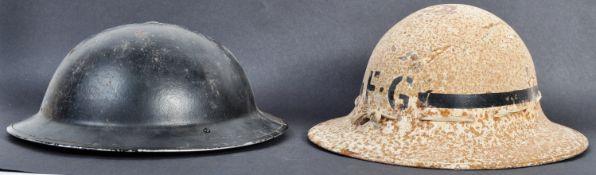 TWO ORIGINAL WWII SECOND WORLD WAR BRITISH COMBAT HELMETS
