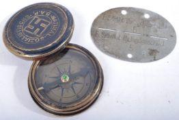WWII INTEREST - THIRD REICH COMPASS & PRISONER OF WAR ID TAG