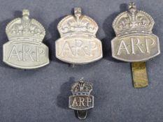 WWII SECOND WORLD WAR AIR RAID PRECAUTIONS CAP BADGES