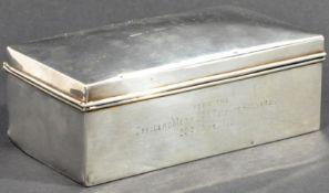 WWI INTEREST - HALLMARKED SILVER PRESENTATION CIGARETTE BOX