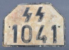 WWII SECOND WORLD WAR GERMAN WAFFEN SS LICENSE PLATE