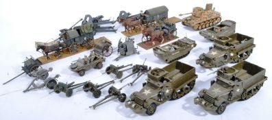 COLLECTION OF VINTAGE PLASTIC MODEL GERMAN AND US ARMY TANKS