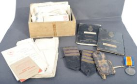 WWI FIRST WORLD WAR MEDAL & EXTENSIVE PAPERWORK TO CHIEF ENGINEER