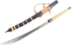 20TH CENTURY BURMESE DHA SWORD AND SCABBARD