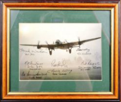 WWII - SIGNED LANCASTER BOMBER PHOTOGRAPH BY VETERANS