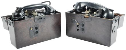 TWO ORIGINAL WWII GERMAN THIRD REICH ARMY FIELD TELEPHONES