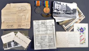 WWI FIRST WORLD WAR - MEDALS & LETTERS FROM FRONT OF PRIVATE IN WARWICKSHIRES