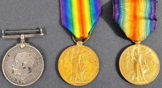 WWI FIRST WORLD WAR MEDALS - PAIR TO SUFFOLK REG - SINGLE TO NAVY