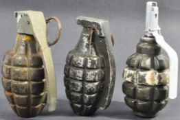 COLLECTION OF X3 ASSORTED MILLS BOMB HAND GRENADES