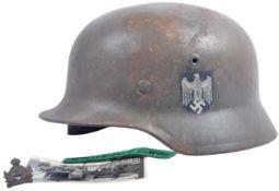 WWII GERMAN STAHLHELM HELMET LIBERATED FROM VON RIBBENTROP