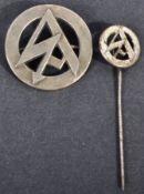 ORIGINAL WWII NAZI GERMAN ' SA ' CAP BADGE & LAPEL PIN