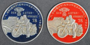 TWO SECOND WORLD WAR GERMAN NSKK RALLY PARTICIPANT PLAQUES