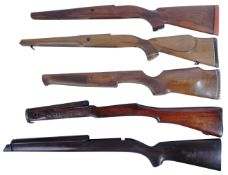 COLLECTION OF X5 ASSORTED WOODEN SHOT GUN RIFLE BUTS