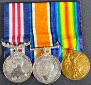 WWI FIRST WORLD WAR MEDAL GROUP - MM - SGT A. HARRIS - RGA