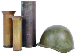 ORIGINAL POST WWII CZECH M32 HELMET AND X3 ARTILLERY SHELLS