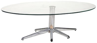 CONTEMPORARY DESIGNER CHROME AND GLASS TOPPED COFFEE TABLE