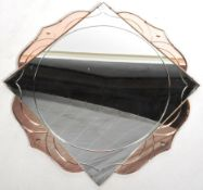 1930'S ART DECO TWO TONE GLASS FRAMELESS WALL MIRROR