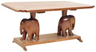 RETRO VINTAGE 70'S SOLID OAK CARVED ELEPHANT COFFEE TABLE