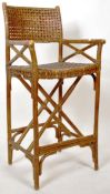 RETRO VINTAGE 1960'S CANE & BAMBOO UMPIRES SEAT TALL CHAIR