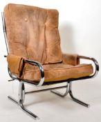 20TH CENTURY JERRY JOHNSON MANNER CHROME FRAMED ARMCHAIR