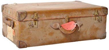 EARLY 20TH CENTURY LEATHER ORIENT MAKE LUGGAGE SUITCASE