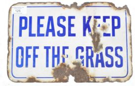 KEEP OFF THE GRASS VINTAGE BLUE AND WHITE ENAMEL SIGN