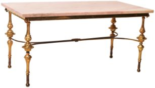 MID 20TH CENTURY HOLLYWOOD REGENCY PINK MARBLE AND BRASS COFFEE TABLE