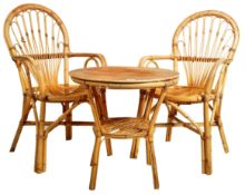 ITALIAN TABLE AND TWO CHAIRS OF BAMBOO AND WICKER CONSTRUCTION