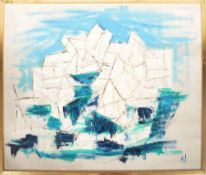 RETRO VINTAGE 1960'S ABSTRACT SEASCAPE OIL ON BOARD PAINTING