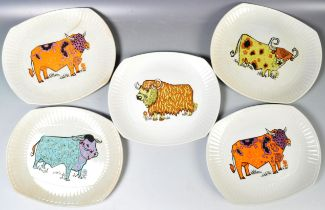 SET OF 1970'S PSYCHEDELIC BEEFEATER COW PLATES