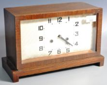VINTAGE ART DECO OAK CASED MANTEL CLOCK WITH SILVERED DIAL