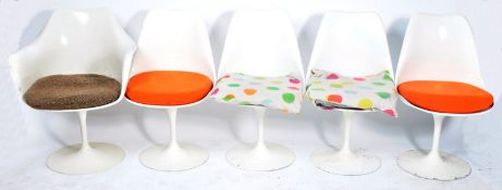 SET OF FIVE RETRO VINTAGE TULIP DINING CHAIRS IN WHITE