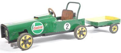 CASTROL GREEN CHILDS MOTOR POWERED GO KART AND TRAILER