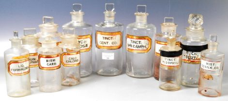 COLLECTION OF VICTORIAN APOTHECARY GLASS BOTTLES