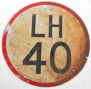LARGE LH 40 SPEED LIMIT REFLECTIVE ROAD SIGN