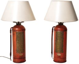 PAIR OF VALOR COMPANY FIRE EXTINGUISHER FLOOR LAMPS