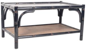 RETRO 20TH CENTURY BLACK LACQUERED BAMBOO EFFECT COFFEE TABLE