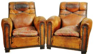 MATCHING PAIR OF ART DECO LEATHER CLUB ARMCHAIRS