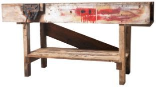 LARGE INDUSTRIAL BENCH OF SOLID PINE CONSTRUCTION