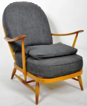 ERCOL MODEL 203 & 205 1970'S LOUNGE CHAIR AND FOOTSTOOL