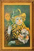 MID CENTURY CLOWN PRINT ON CARD SET WITHIN A BRASS EFFECT FRAME